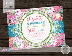 PRINTABLE Watercolor Luau Any Age Birthday by LillysPartyBoutique