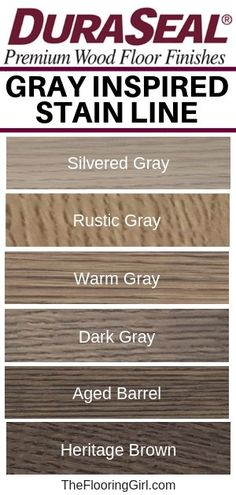 Gray blended stains for hardwood floors from Duraseal. Gray, Greige and Brown-Gray stain colors. Modern gray, greige and brown-gray stain shades for hardwood flooring. Check out Duraseal's new gray stains for a modern farmhouse style. Hardwood Floor Stain Colors, Staining Wood Floors, Deck Stain Colors, Grey Hardwood Floors, Staining Cabinets, Grey Flooring, Paint Colors, Modern Flooring, Stain Wood