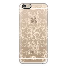 iPhone 6 Plus/6/5/5s/5c Case - Painted Cream Floral Doodle on Crystal... ($40) ❤ liked on Polyvore featuring accessories, tech accessories, phone, iphone case, transparent iphone case, iphone cover case, iphone crystal cases and apple iphone cases