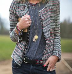 Stylist and blogger Emma Thatcher co-ordinates her Mia Lia beaded bracelets to complement ...