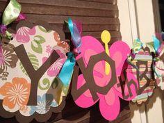 Luau Hawaiian Summer Birthday Banner by MyLittleGaggle on Etsy, $32.00