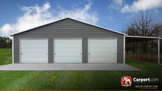 This custom three car garage has a lean-to on the side and three roll-up doors on the front. If you have any questions about this building, call in for a free consultation. Free installation and delivery! Metal Garage Buildings, Metal Garage Doors, Pole Barn Garage, Shop Buildings, Metal Garages, Steel Garage, Metal Building Homes, Steel Buildings, Pole Barns