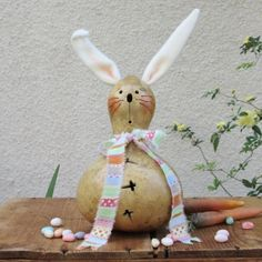 Easter Gourd Bunny Rabbit Natural Carved by pinchmeboutique, $18.00