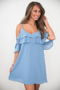 You're Pretty Cool Dress Faded Blue Online Clothing Boutiques, Pink Lily, Office Outfits, Pretty Cool, Boutique Clothing, Casual, Nice Dresses, Fashion Accessories, That Look