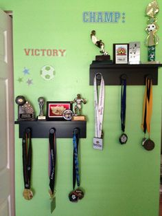 Solution to displaying trophies and metals.  Kohl's shelves on sale for $ 3.99 each. Great find there. Love it!!