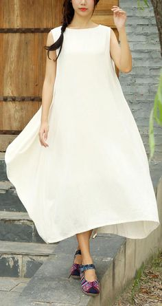 DIY White Clothes O Neck Asymmetric Long Summer Dresses White Linen Dresses, Cotton Dresses, Summer Maxi, Summer Dresses For Women, Floral Plus Size Dresses, Oversized Dress, Fashion Top, White Outfits, Chiffon Dress