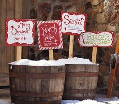 """These sell for $44 from Pottery Barn.      Spread holiday cheer as you let guests and passersby know which way to the North Pole, with our vintage-style wood signs.  14"""" wide x 34.75"""" high x 0.5"""" thick  Expertly crafted of solid wood and hand painted with a weathered finish.  Choose Santa's Workshop, Santa This Way, North Pole or personalizable Merry Christmas lawn stake.  Sold individually.  Personalization is available for an additional $7.00."""