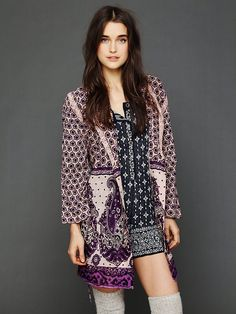Free People FP ONE Border Print Sleep Robe at Free People Clothing Boutique