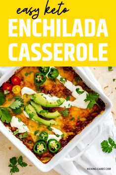 Low carb casseroles don't get any tastier than this Easy Keto Enchilada Casserole. This simple chicken dish is made with red sauce is a delicious dinner that the whole family will love. #kickingcarbs #ketocasseroles #ketoenchiladacasserole #ketodinner #lchf Chicken Enchilada Casserole, Keto Casserole, Casserole Dishes, Casserole Recipes, Keto Diet Book, Keto Diet Guide, Keto Meal, Low Carb Keto, Low Carb Recipes
