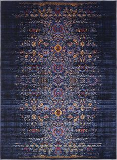"This Turkish Renaissance rug is made of polyester with 100% cotton backing foundation for extra durability and ultra softness. Colors found in this rug include: Navy Blue, Light Blue, Orange, Red. The primary color is Navy Blue. This rug is 1/3"" thick."