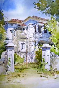White House - Painting of a majestic, two-storeyed white house, viewed from outside its entrance, with a clear blue sky in the background, done in watercolors