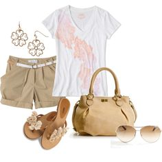 This is a great outfit for summer casual. White short sleeve top with beige-ish brownish shorts and bag. Sandles, shades and flower earrings. :)