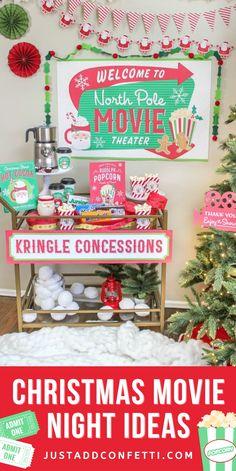 Christmas Movie Night Party Ideas, Decorations, Snacks and Printables