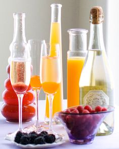 Bellinis ... Set up a bellinis bar for Easter brunch. How fun and pretty
