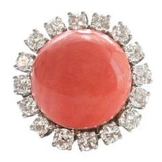 Coral Diamond Gold Platinum Ring