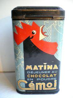 RARE Boite à chocolat CEMOI, tole lithographiée Art Déco: COQ Matina - Vtg tin box