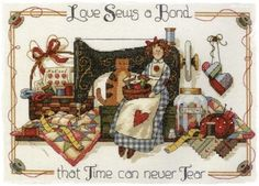 Gold Collection Lovely Counted Cross Stitch Kit Love Sews A Bond Sewing Sew Girl Woman Maid and Cat Kitten Kitty dim Cross Stitch Baby, Cross Stitch Samplers, Counted Cross Stitch Patterns, Cross Stitching, Cross Stitch Embroidery, Sewing Art, Love Sewing, Sewing Clipart, Quilting Quotes
