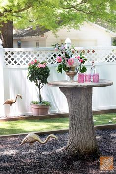 Take Advantage of Tree Stumps. If you're cutting down a tree, leave a few feet of the stump in place and turn into a small outdoor serving table.