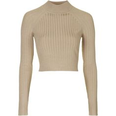 TOPSHOP Modern Rib Funnel Crop Jumper (€60) ❤ liked on Polyvore featuring tops, sweaters, crop top, shirts, brown, nude, long sleeve sweaters, white crop top, ribbed sweater and crop shirts