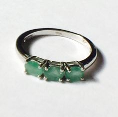 Emerald Eternity Ring in Platinum Handmade by NorthCoastCottage