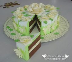For Chaley& shower love the cake on the inside Amazing Paper Cake Boxes Cake Slice Boxes, Box Cake, Cardboard Box Crafts, 3d Paper Crafts, Happpy Birthday, Pie Box, Cricut Cake, Origami Box, Oragami
