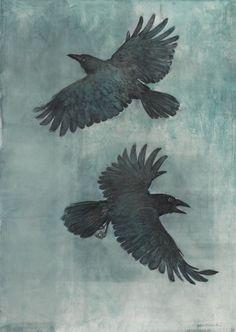 John Alexander Crow in a Fog art bird Crow Art, Raven Art, Bird Art, The Crow, Art And Illustration, Hugin Munin Tattoo, Rabe Tattoo, Crow Images, Merle