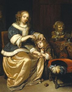 Interior with a mother combing her child's hair, by Caspar Netscher, 1669.