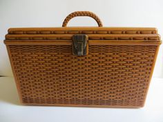 Vintage Faux Wicker Sewing Basket by YaYasAttic on Etsy, $40.00