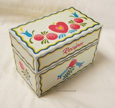 Vintage Ohio Art Co. Recipe Tin Recipe Box – Metal box, Dutch print, Made in USA – Circa 1950s by RetrowareExchange on Etsy