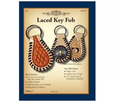 Realeather Laced Key Fob kit.  The classic shaped tooling leather fob with added touch - a leather laced edge. Fob is ready to personalize with stamps, add a concho or leave plain. Color with stain or permanent markers; then add a protective leather finish.
