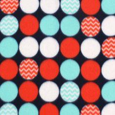 Blizzard Fleece Fabric- Red Blue Navy Dot