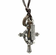 R&B Joyas - Collar hombre estilo vintage urbano, cordón de cuero marrón y colgante cruz de metal plateado: Amazon.es: Joyería