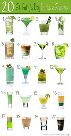 Patty's Day Themed Drinks and Shooters.It's time to get your shamrock-shake on, ladies!For the times when green beer just won't do – these awesome St. Patrick's Day themed drinks and shooters are sure to get you in the Irish spirit. St Patty's Day Drinks, St Patrick's Day Cocktails, St Patricks Day Drinks, St Patricks Day Food, Party Drinks, Fun Drinks, Green Cocktails, Mixed Drinks, Alcoholic Beverages