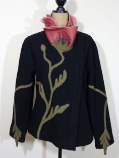 Covelo jacket lagenlook top artsy art to wear upscale designer black quirky sz M #Covelo #BasicJacket