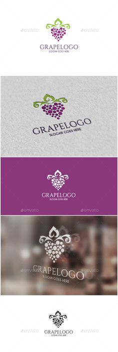 Grape Logo Logo  -AI and EPS file -CMYK mode -100 vector and resizable -Easy to edit color and text  -Grape Logo Logo(Color) -Gra