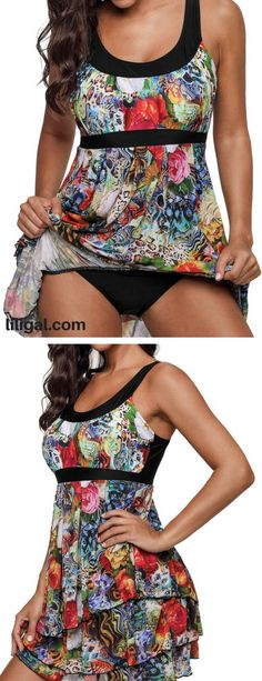 Scoop Back Layered Printed One Piece Swimdress   #liligal #swimwear #swimsuit