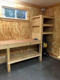 Impressive Build Your Own Garage Workbench Ideas. Irresistible Build Your Own Garage Workbench Ideas. Storage Shed Organization, Garage Storage Shelves, Garage Shelf, Diy Storage, Storage Ideas, Workshop Storage, Diy Garage Work Bench, Budget Organization, Small Garage Ideas