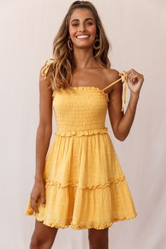 Order the Sherry Tied Shoulder Shirred Bust Dress Yellow only at Selfie Leslie! Black Dress Outfits, Summer Dress Outfits, Cute Casual Outfits, Pretty Outfits, Pretty Dresses, Casual Dresses, Frock Fashion, Fashion Outfits, Yellow Dress Summer