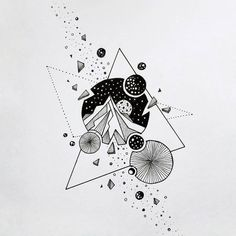 Space Drawings, Pencil Art Drawings, Art Drawings Sketches, Tattoo Sketches, Kritzelei Tattoo, Doodle Tattoo, Doodle Art, Marshmello Wallpapers, Natur Tattoos