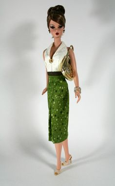 Green and Cream Dress for Barbie by ChicBarbieDesigns on Etsy