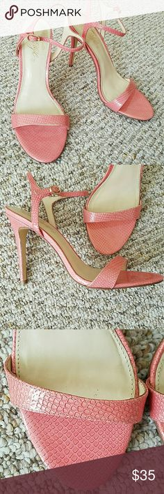 """NEW! Fergie leather """"Roxane"""" pink sandal size 9 Beautiful patent leather snake print high heel sandal. Perfect except for a tiny nick inside the right shoe which doesnt show well in photo. Very sexy. For slimmer feet. New no box. Size 9 Shoes Heels"""