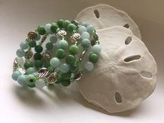 Green wrap beaded bracelet, silver accented beaded bracelet, light green glass beaded bracelet, gift, jewelry, ocean,