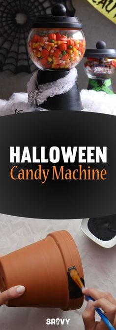 Halloween is coming and it's time to get decorating! This easy-to-make Halloween Candy Machine will make a nice addition to you spooky decor - plus it can hold all your sweet treats! You can find the flower pots and saucers to make this at any home improvement or garden store near you.