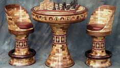 Segmented Game Table and Chairs - FineWoodworking
