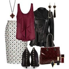 Peplum Biker Jacket & Long Skirt