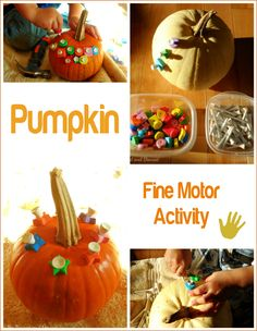 Pumpkin fine motor activity from My Nearest and Dearest