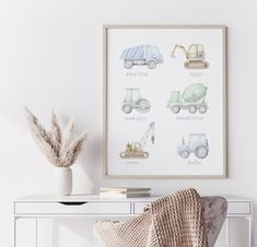 Construction Vehicle Prints,Boy Nursery Wall Decor,Nursery Decor Boy, Nursery poster,Montessori Educational Posters, Kids learning print