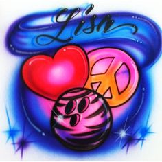 MecaBrush - Personalized Vinyl Decals and Custom Airbrush - Airbrushed shirt with cool Love Peace Bowling design - Design Show, All Design, Airbrush Shirts, Airbrush Designs, Custom Airbrushing, Natural Baby, Cute Tshirts, Bowling, Peace And Love