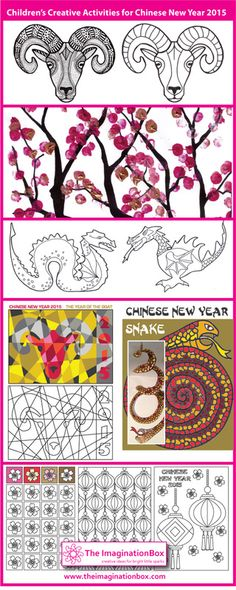 Kid's free printable creative activities for Chinese New Year, 2015, including goats, snakes, dragons, blossom and lanterns.