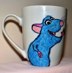 Hand Painted Mug Remy Le petit chef by Valia Chatz vflorarte.wordpre...
